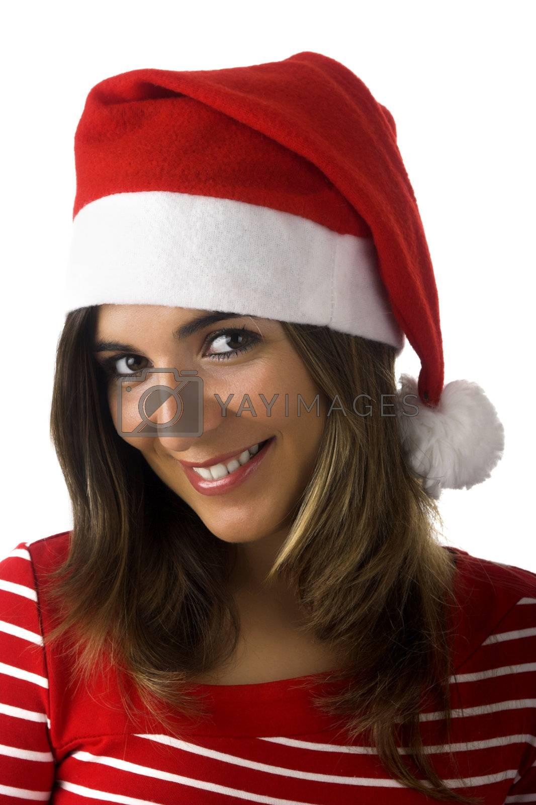 Beautiful woman with a Santa Claus visual