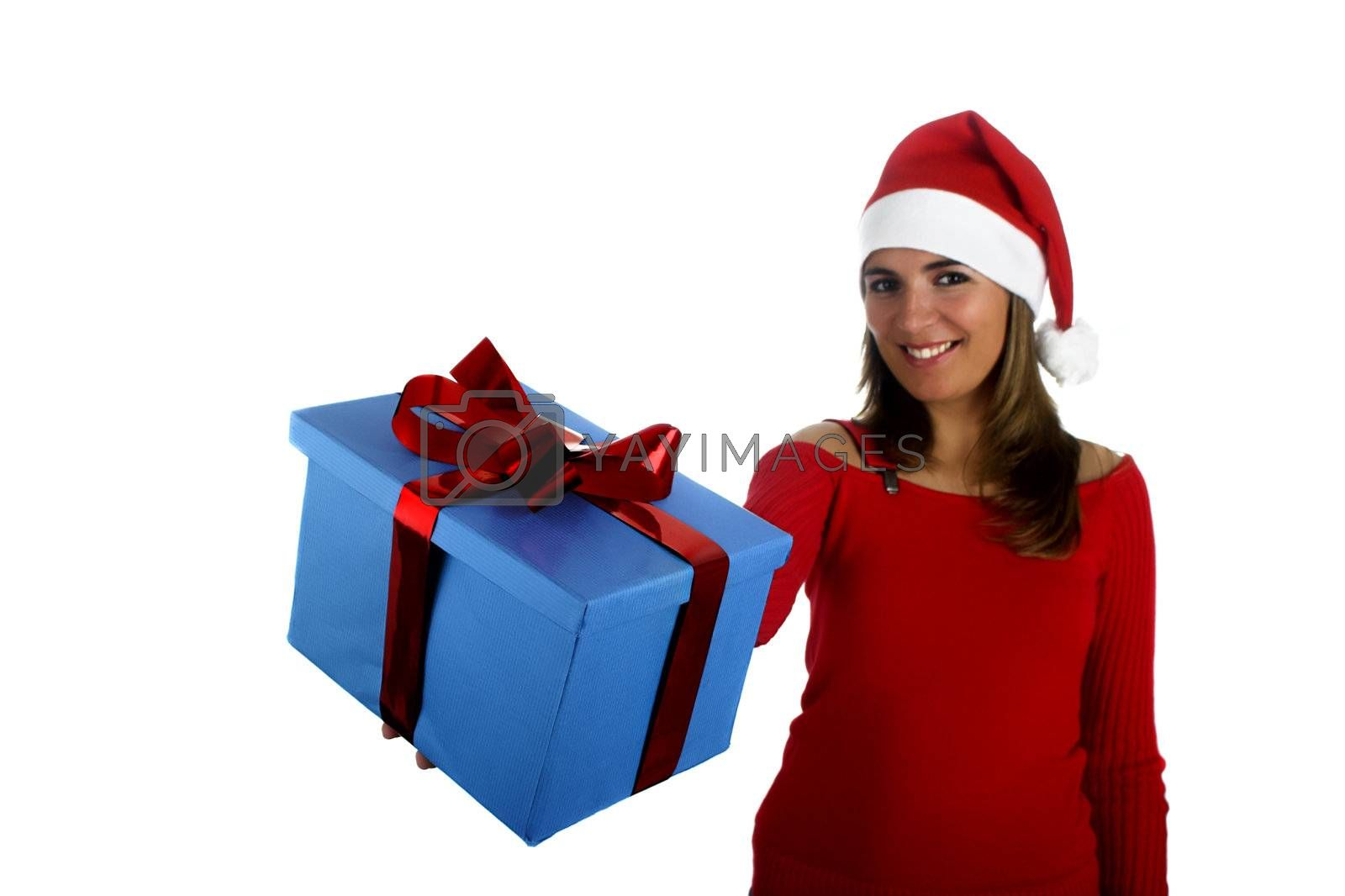 Beautiful santa girl woman with gifts (Focus is on the Gift)