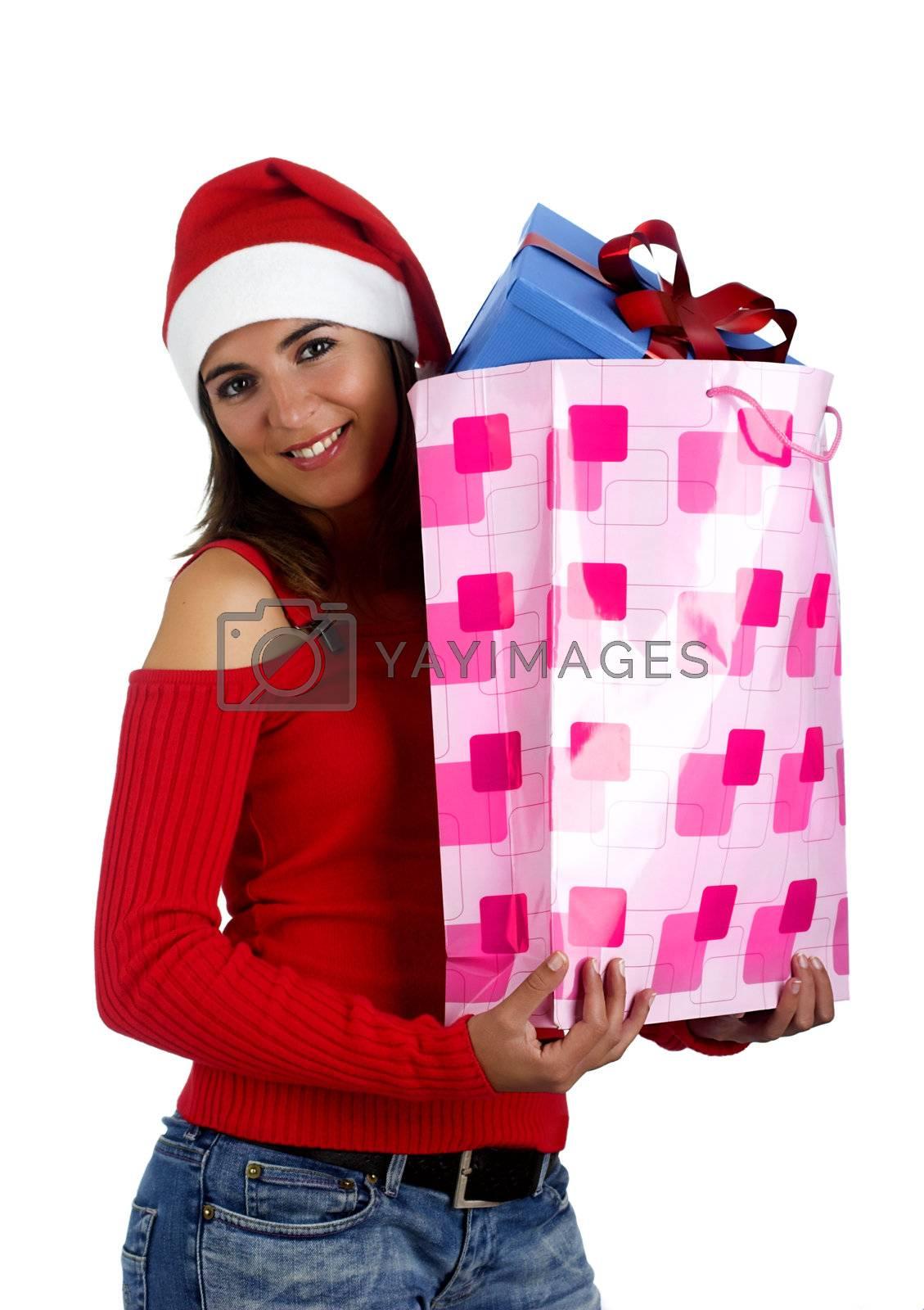 Beautiful santa girl woman with gifts