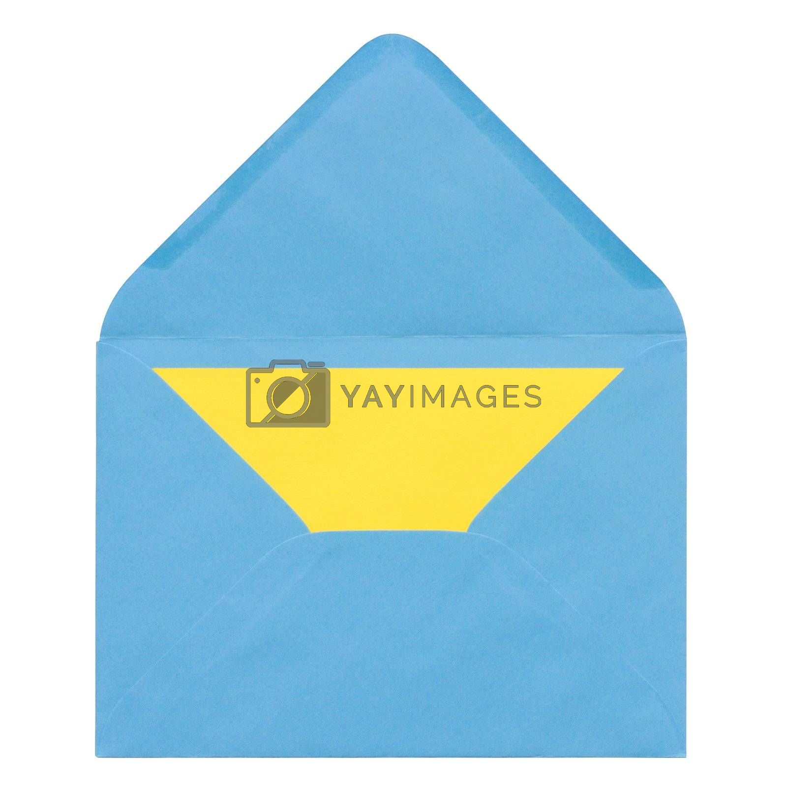 Envelope with yellow sheet of paper inside