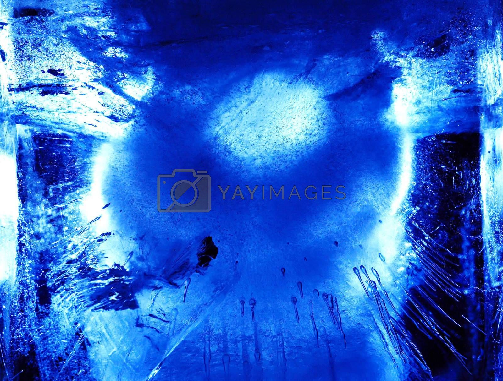 Abstract ice figure in blue light