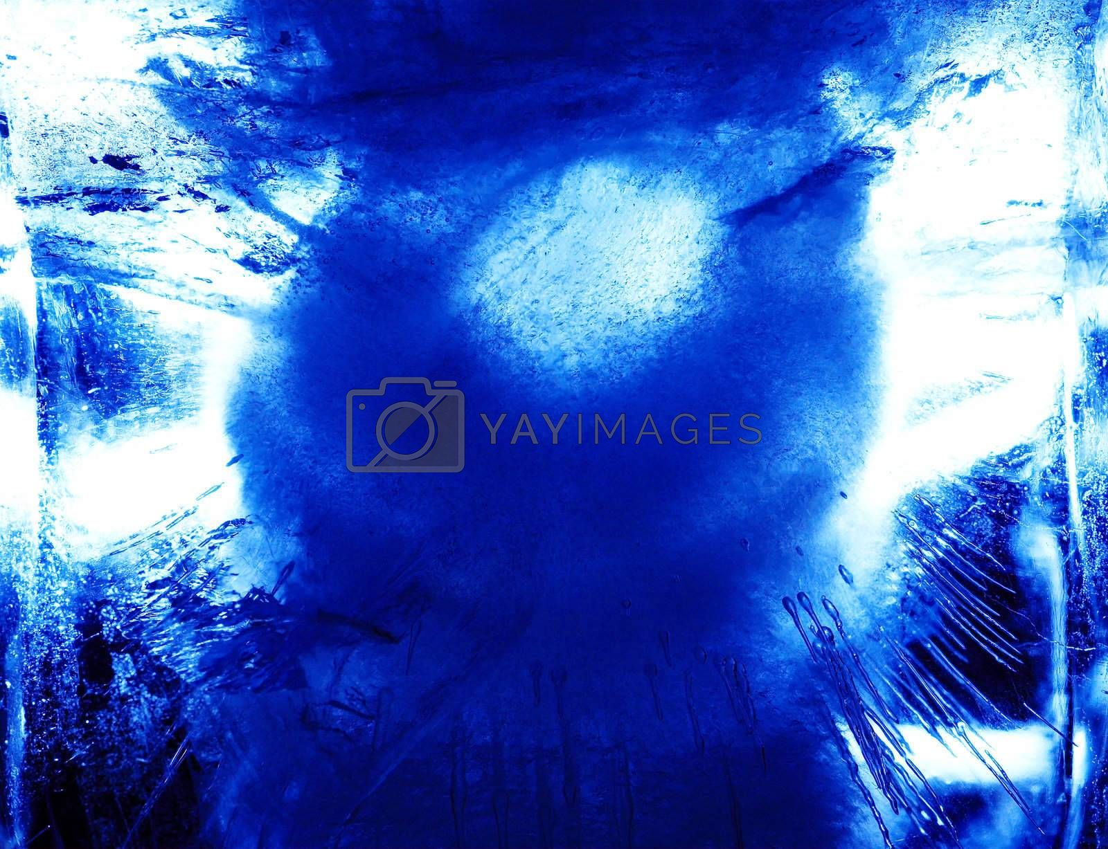 Abstract ice figure, in blue light