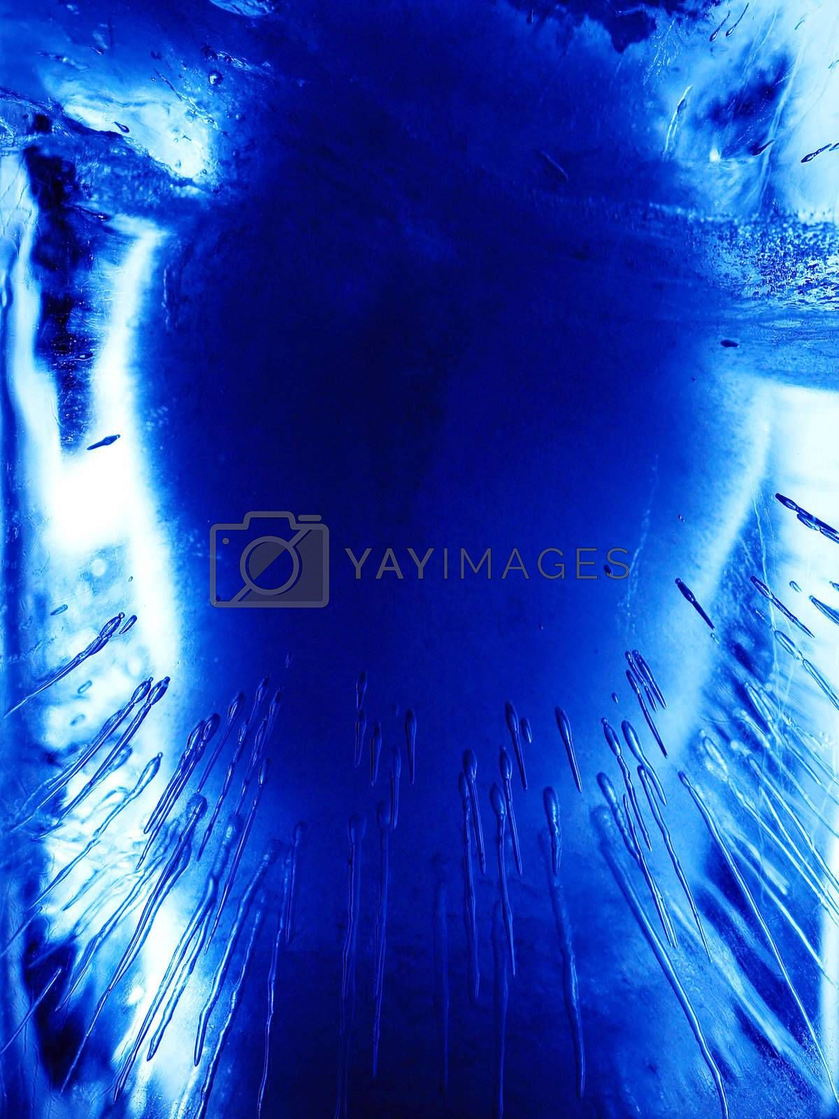 Abstract ice figure, blue light