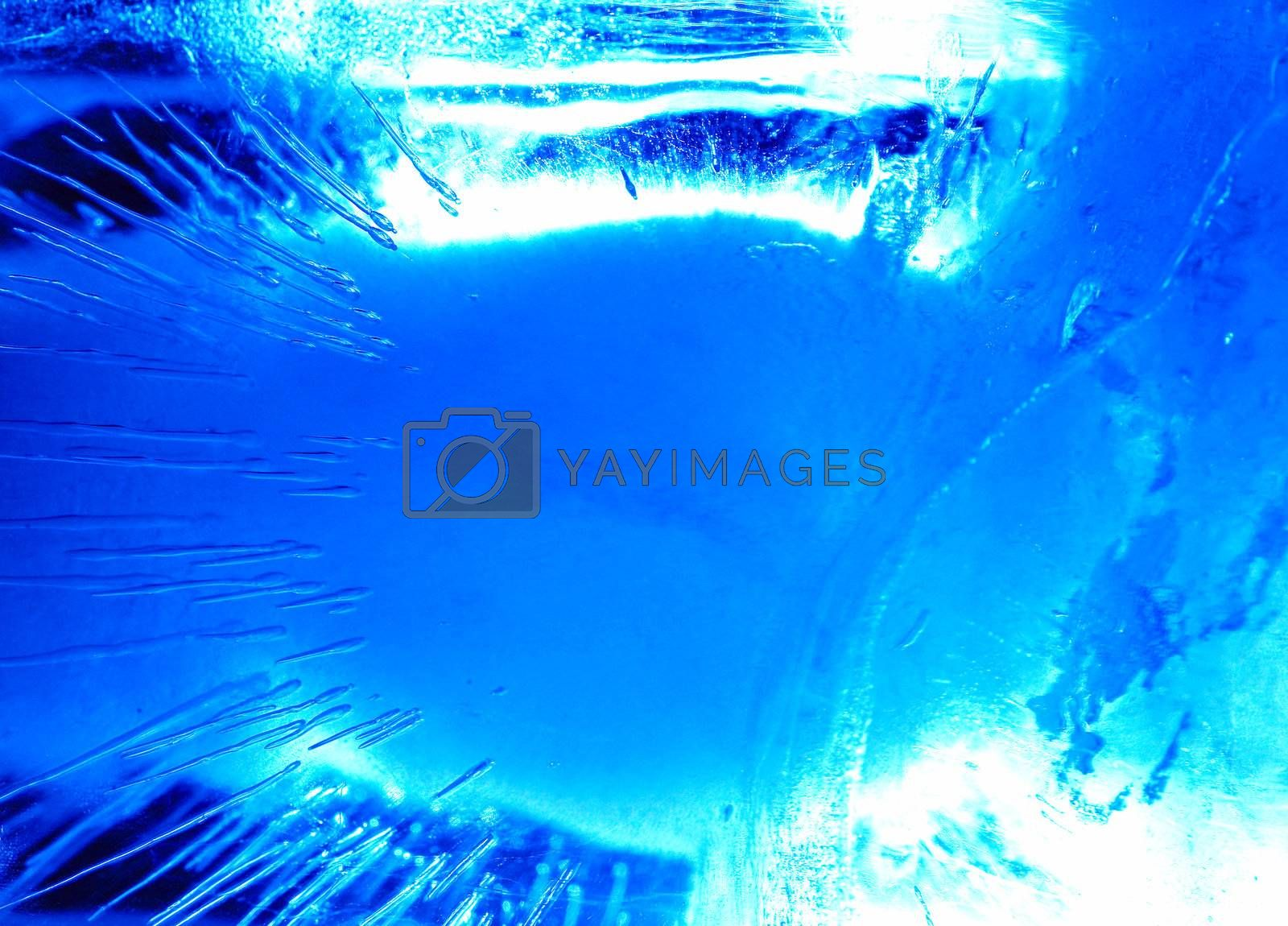 Abstract ice figure, in blue light, var2