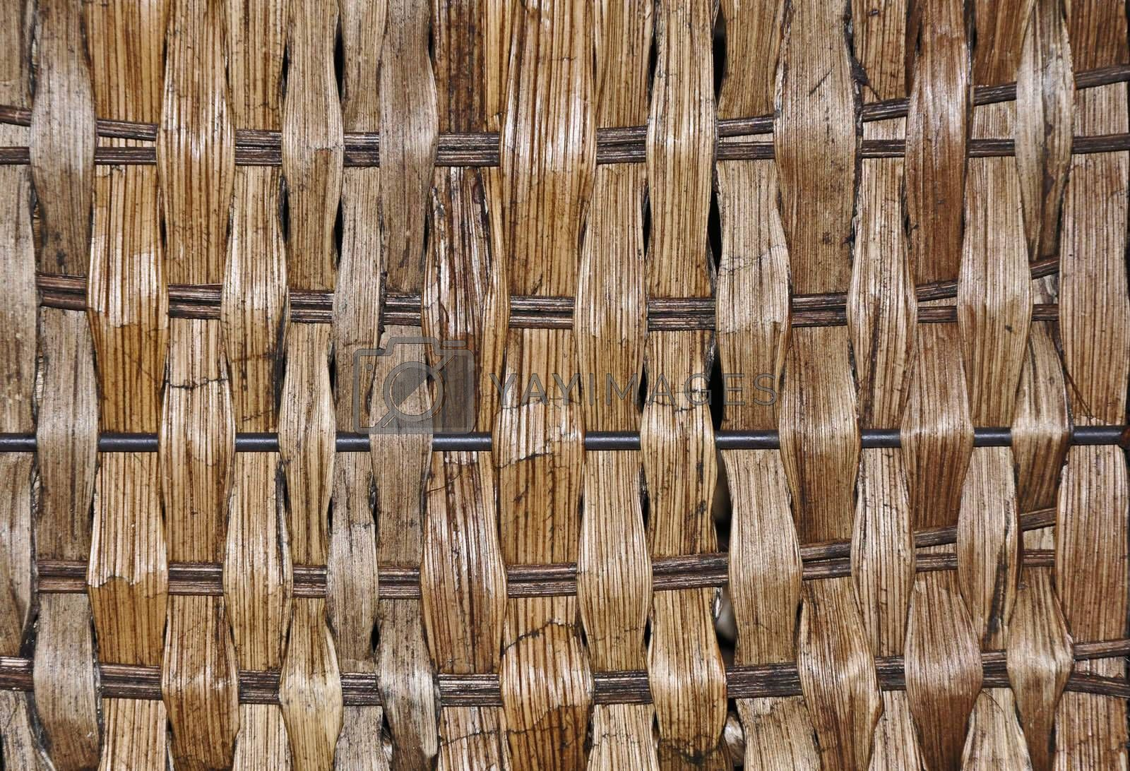 closeup view of a brown wicker basket