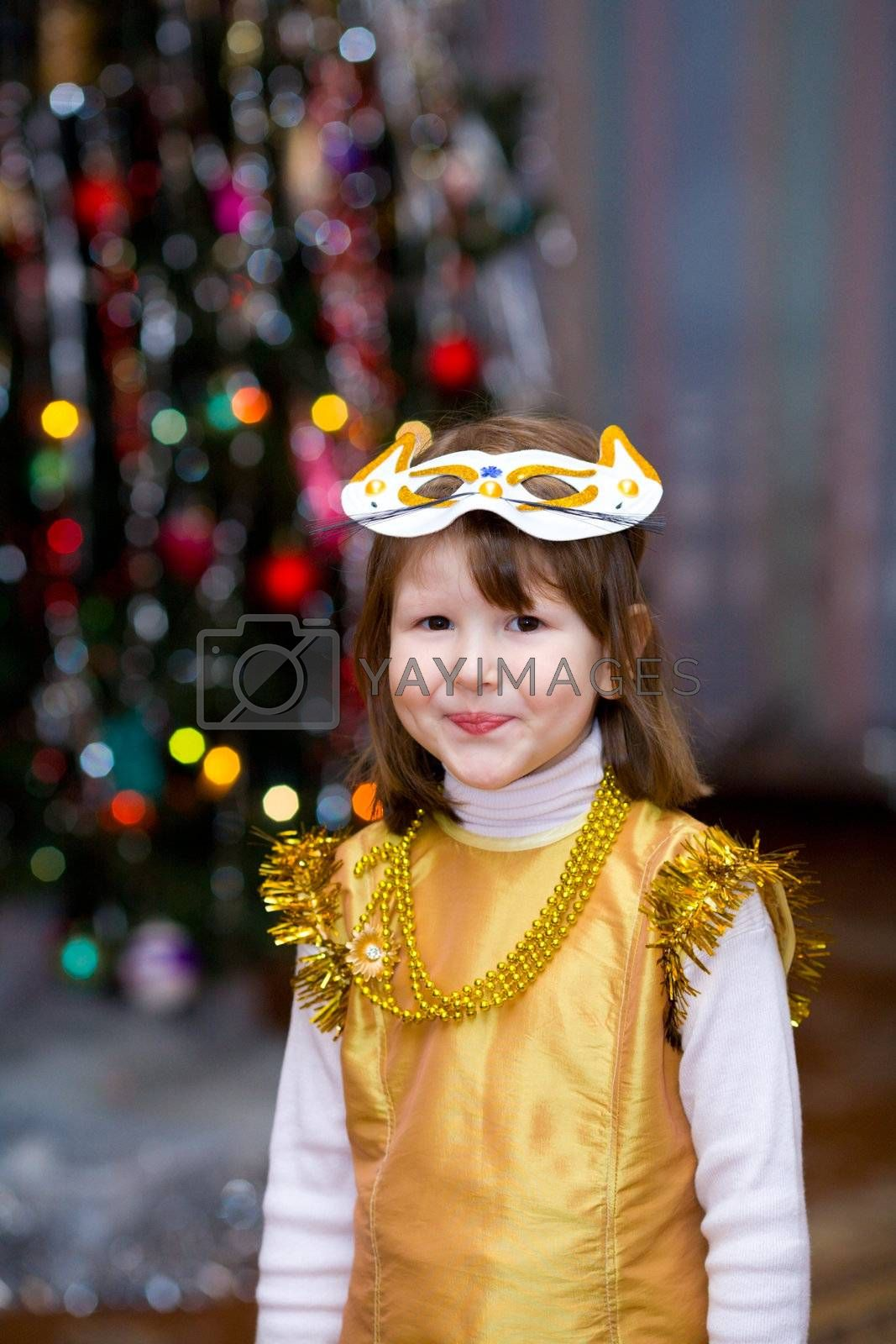 Girl wearing carnival mask by olga_sweet