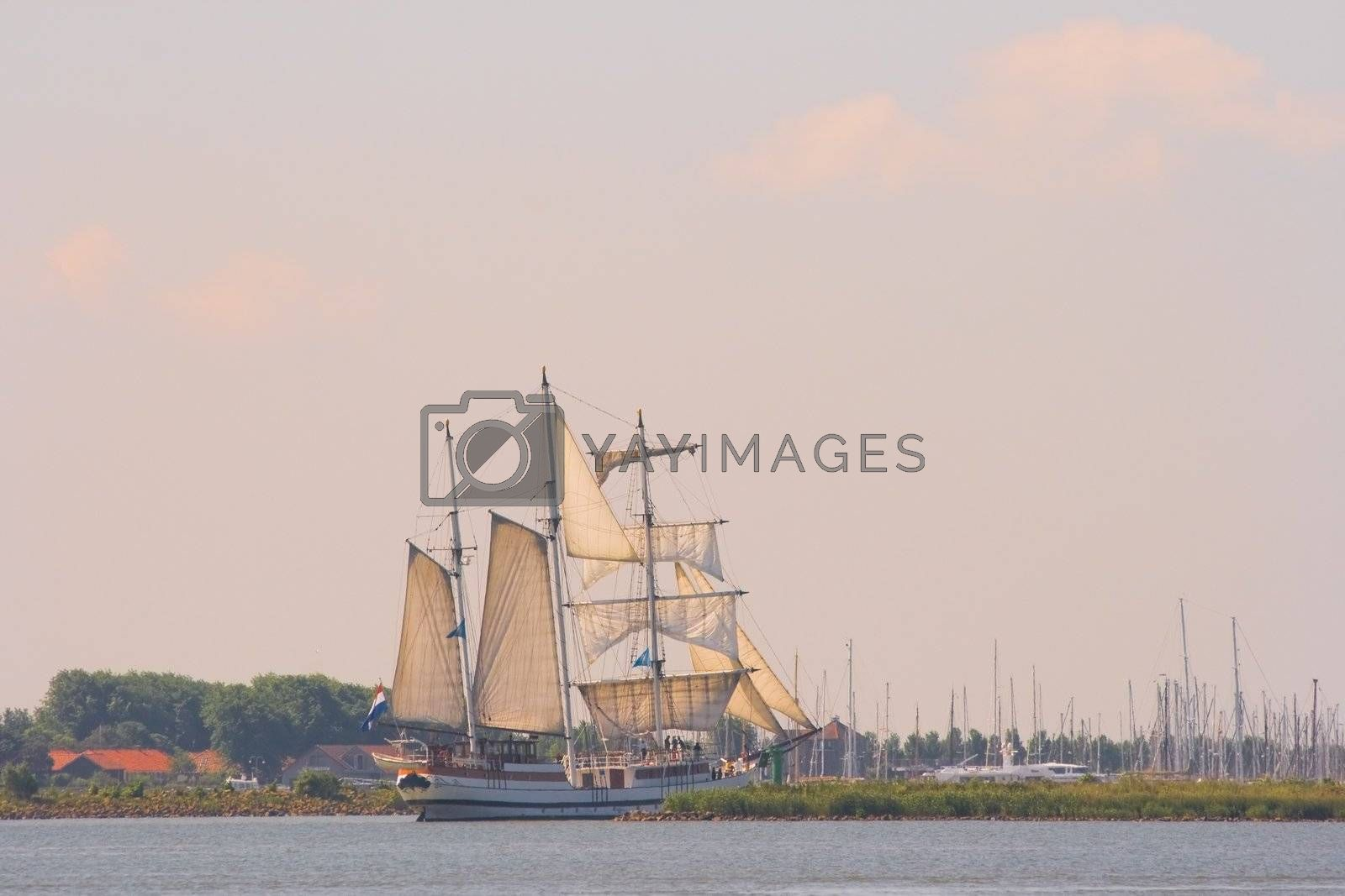 Old ship sailing out by Colette