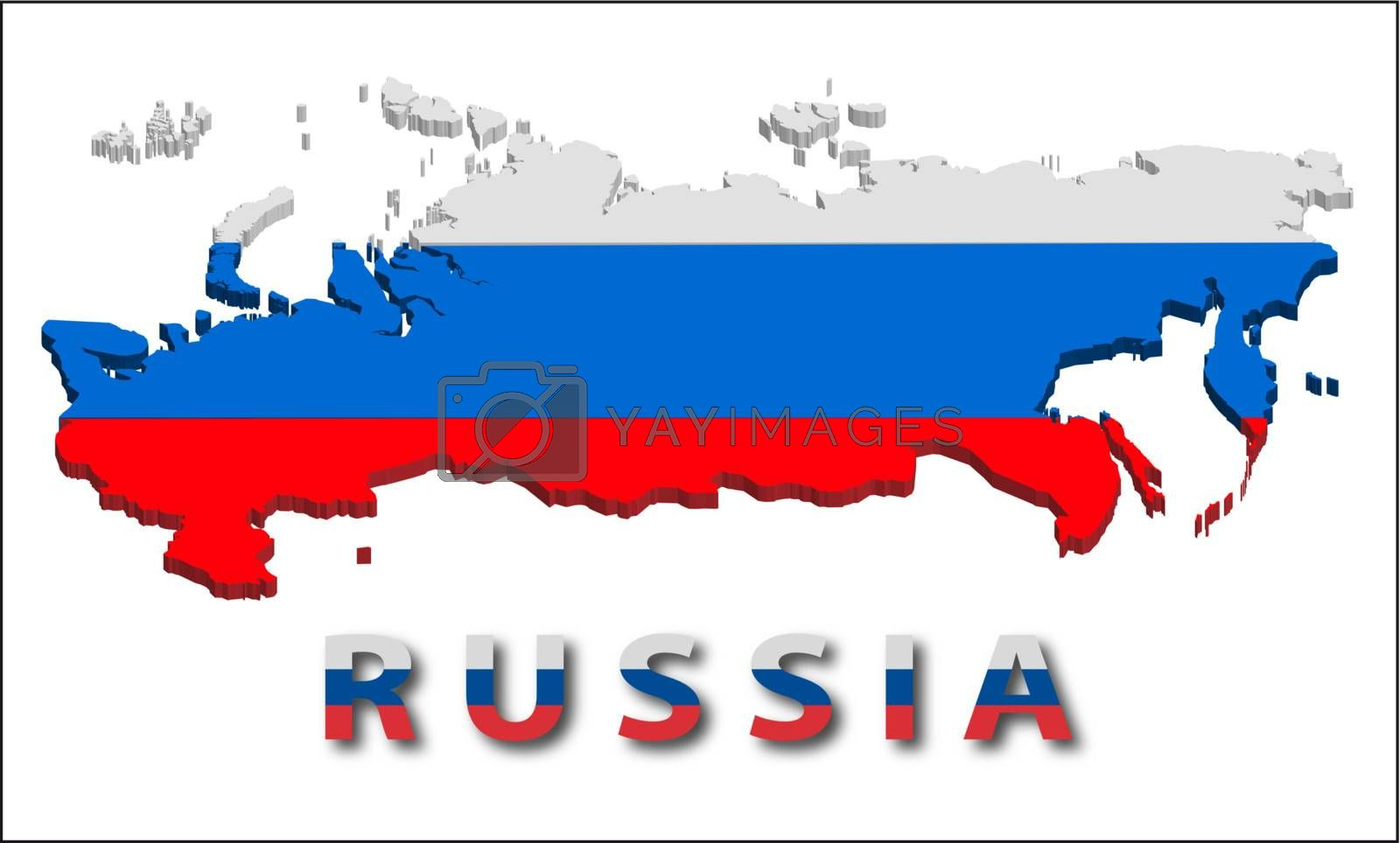 Russia territory with flag texture. Illustration. EPS10