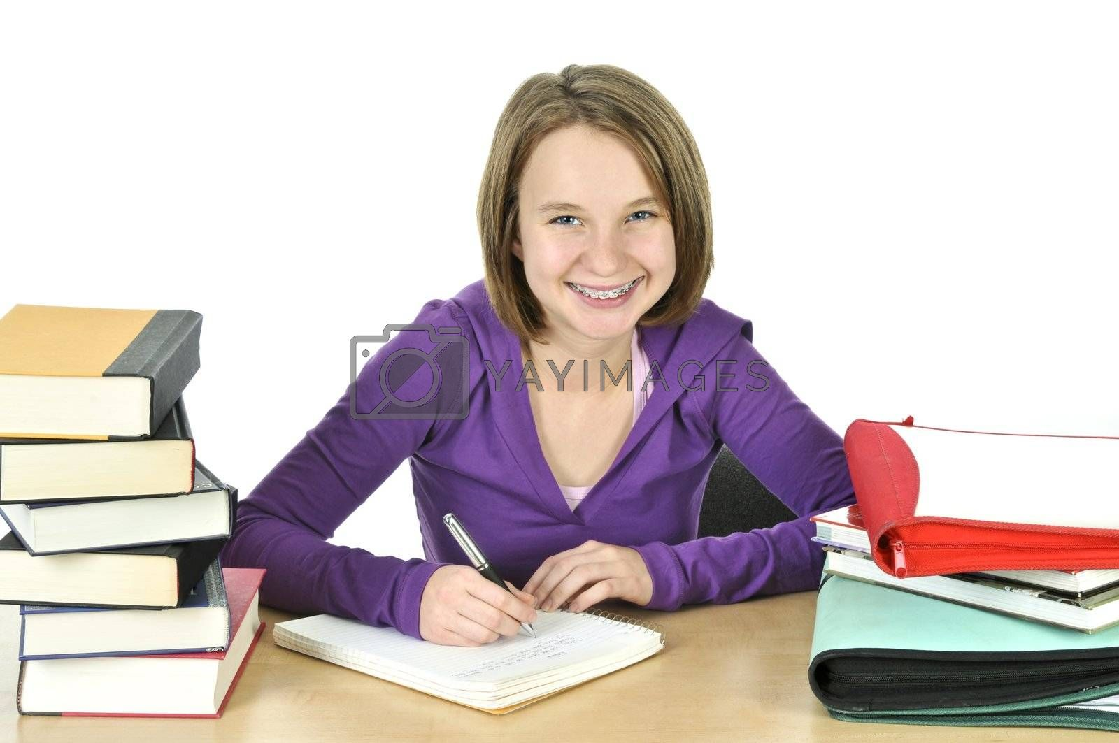 Teenage girl studying by elenathewise