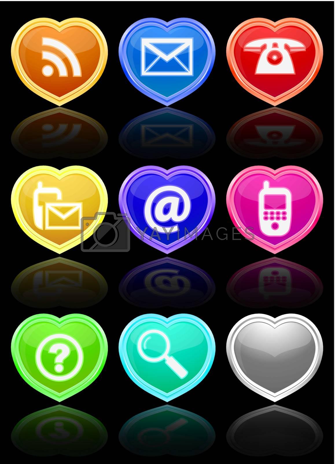 Glossy communication buttons set. Vector Illustration. EPS10