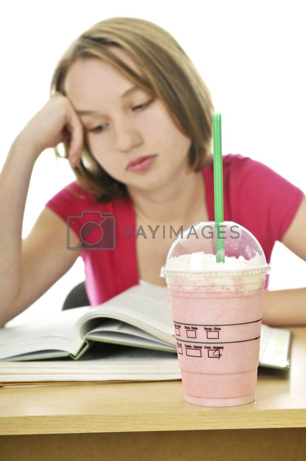 Teenage girl with milkshake by elenathewise