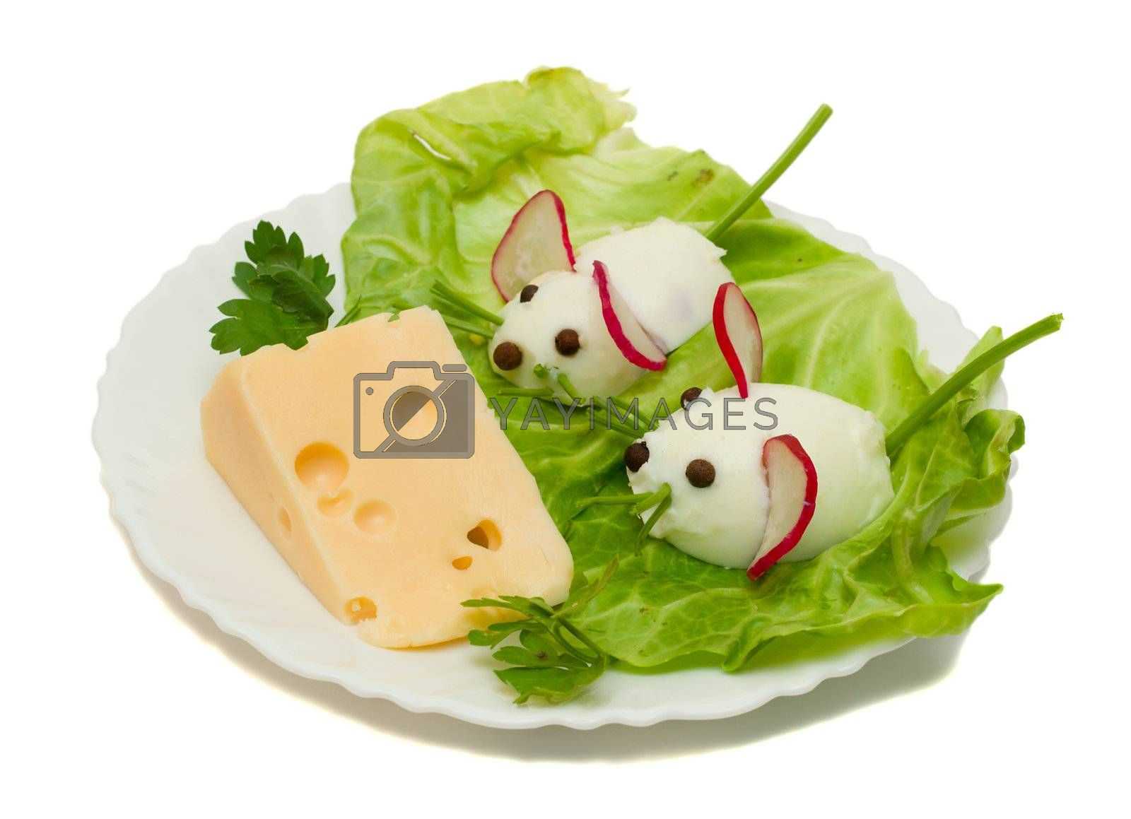 funny food - two mouse and cheese by Alekcey
