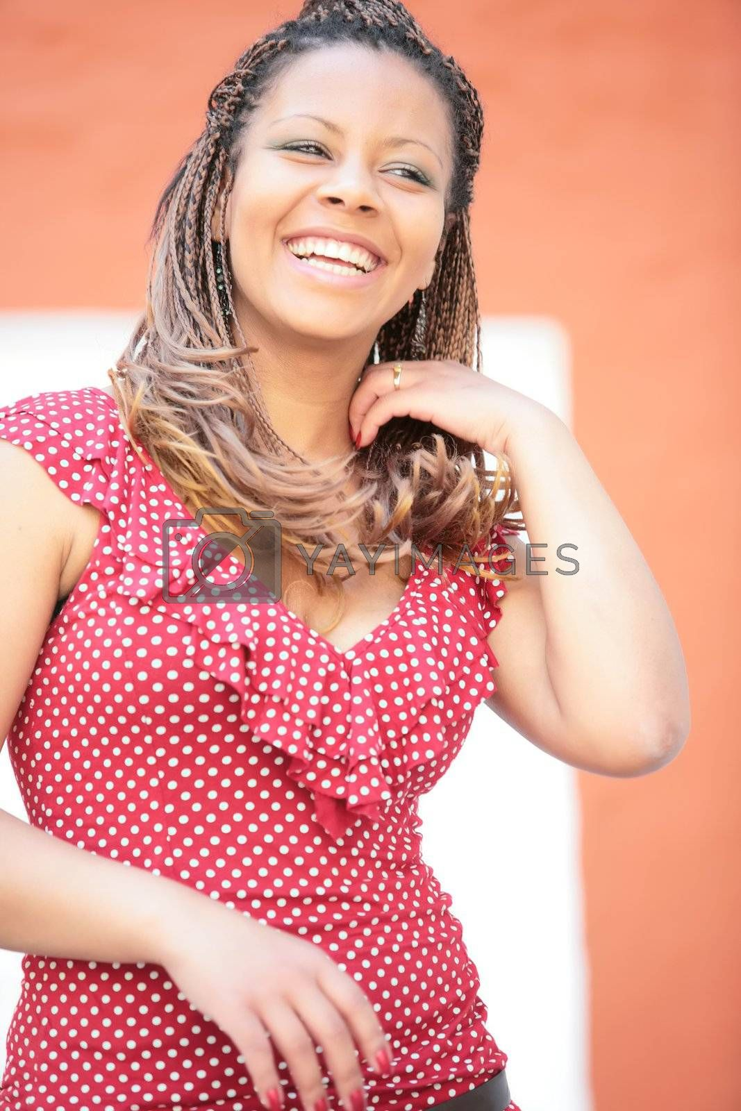 laughter woman in re polka dress by Astroid