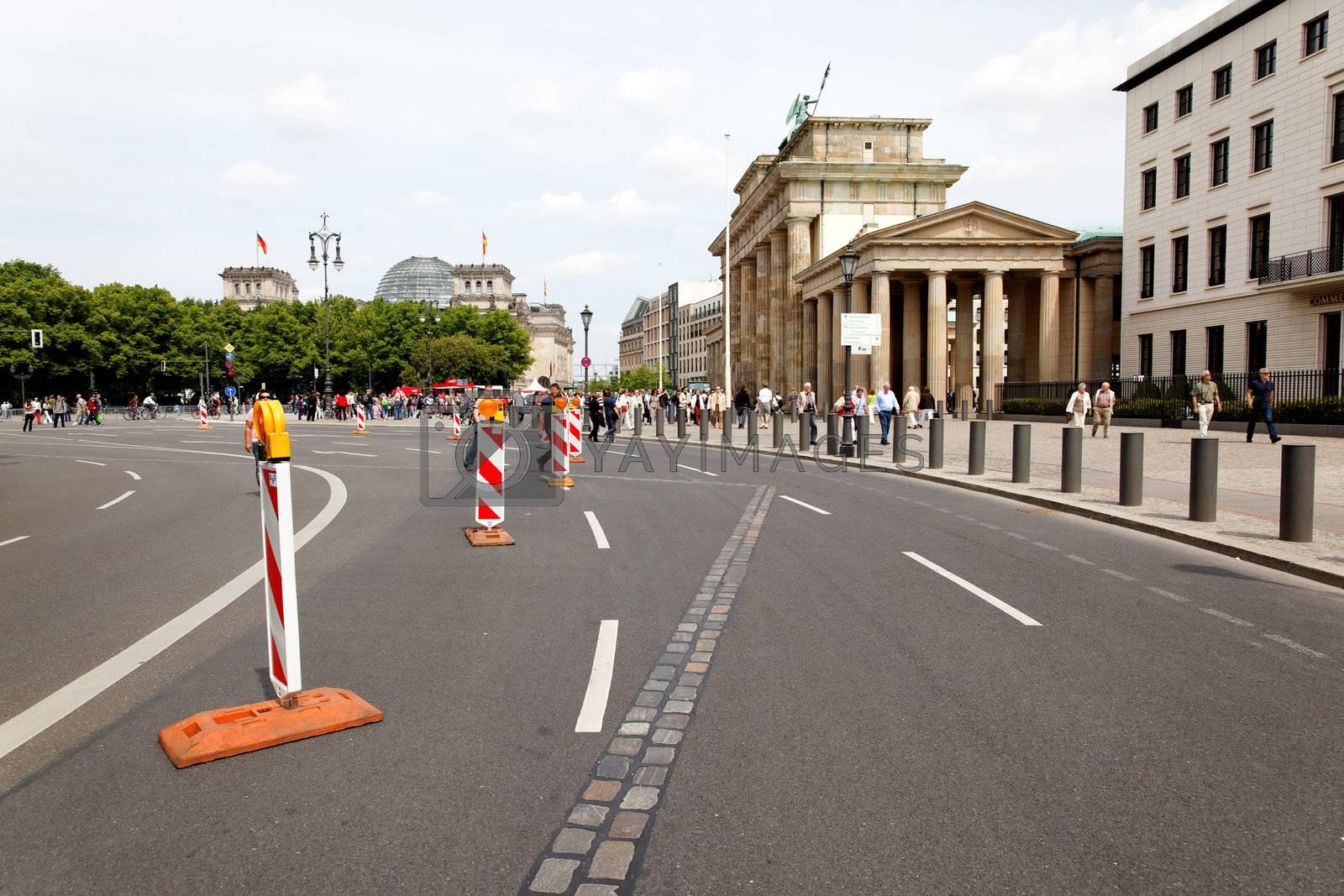 The Marks of Berlin wall near BRANDENBURG GATE