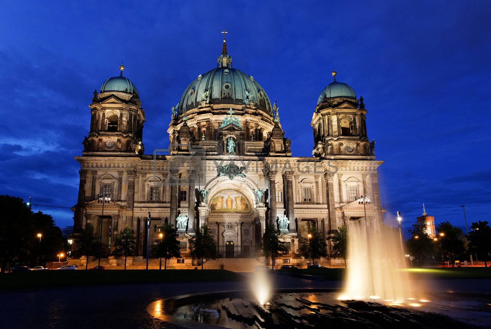 the Berliner Dom in the night in Berlin Germany