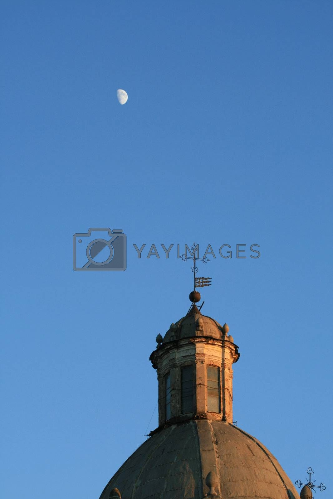 Royalty free image of Church and moon by Koufax73