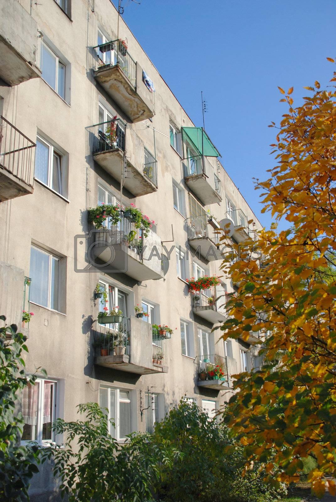 Old balconies in Wroclaw. Poland. by wojciechkozlowski