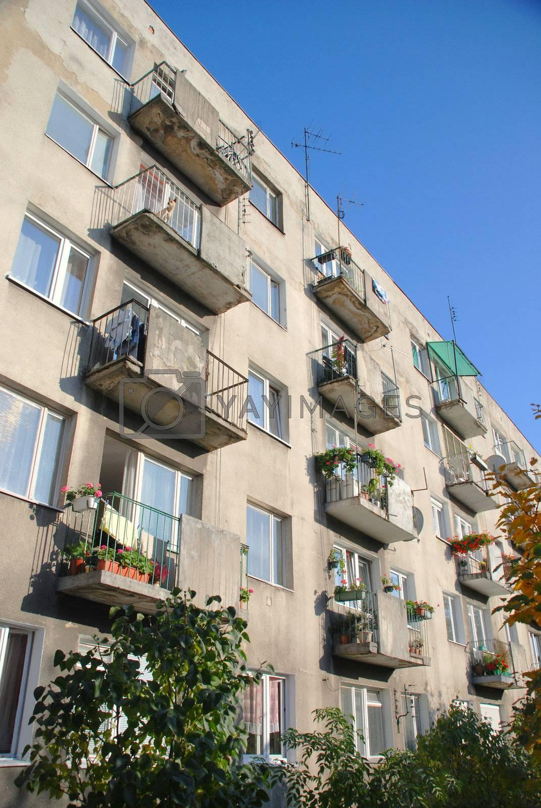 Royalty free image of Renovated balconies in multi-family building. Wroclaw. Poland. by wojciechkozlowski