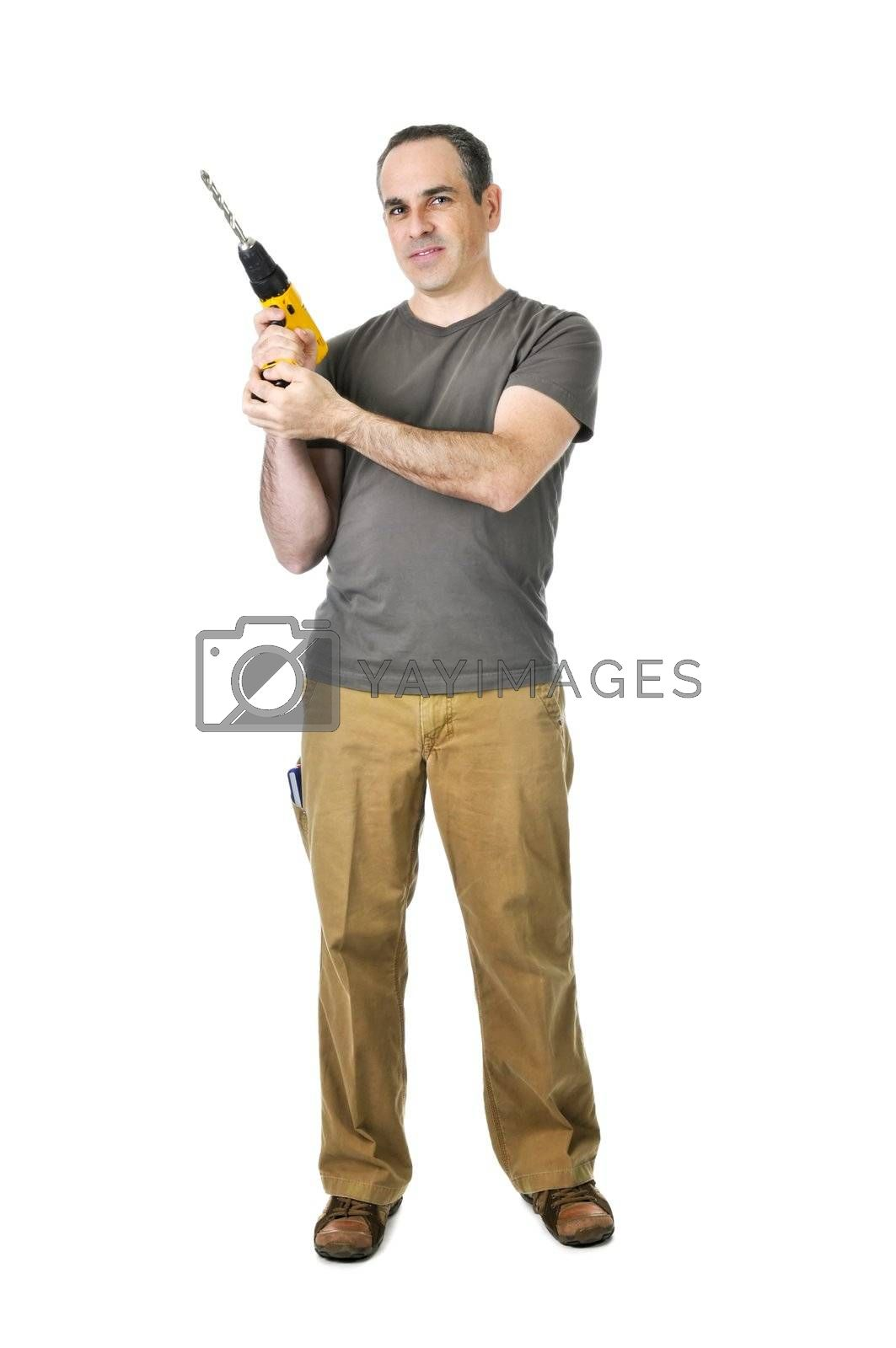 Royalty free image of Handyman with a drill by elenathewise