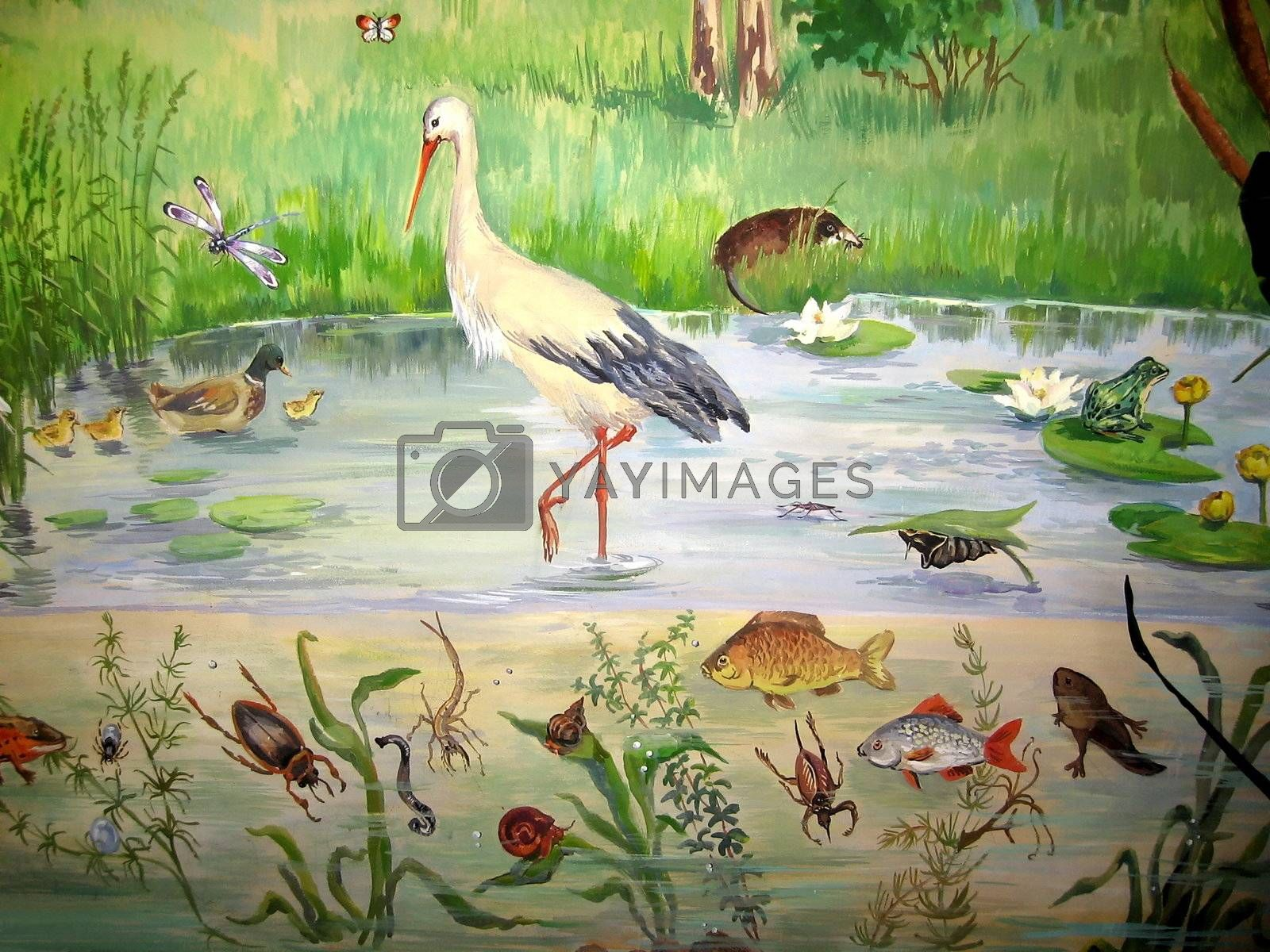 Painted picture with various pond living animals