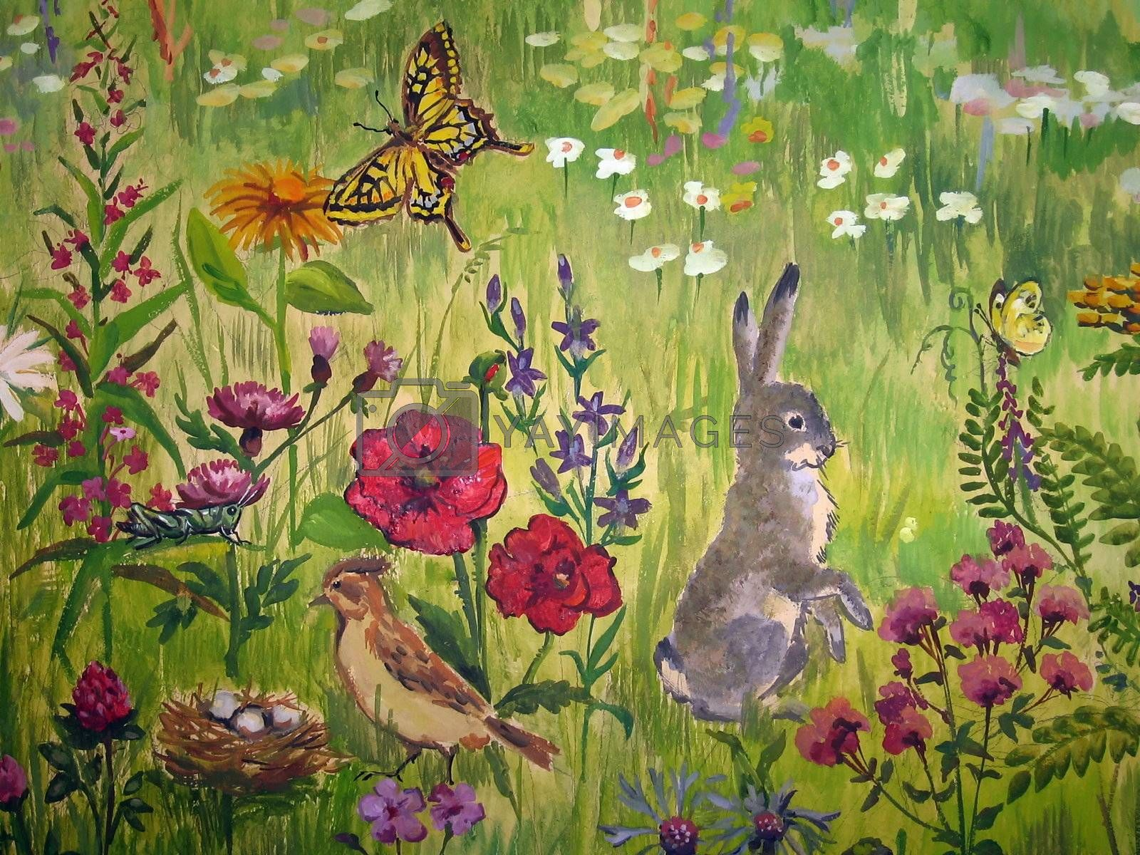 Painted picture with various meadow living animals