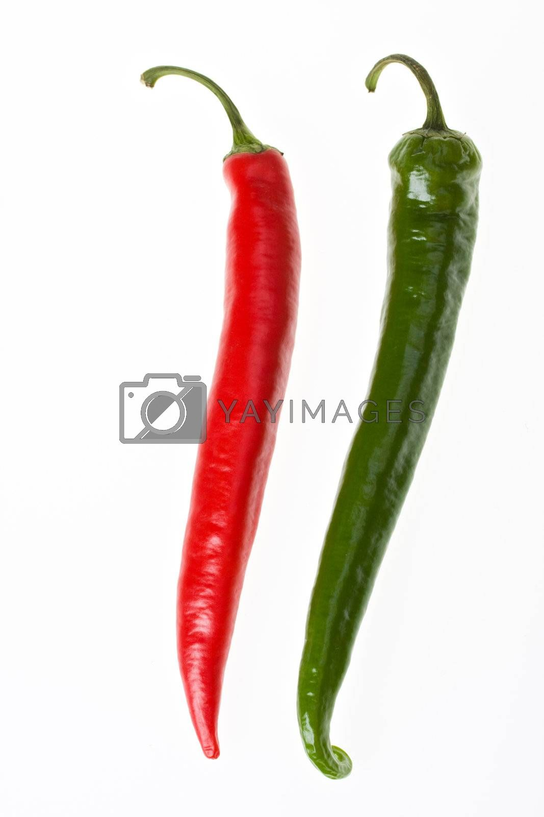 red and green hot chilli peppers on white background