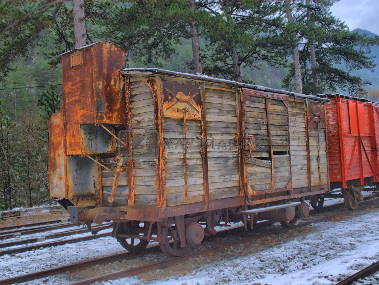 ancient wooden train wagons by jbouzou