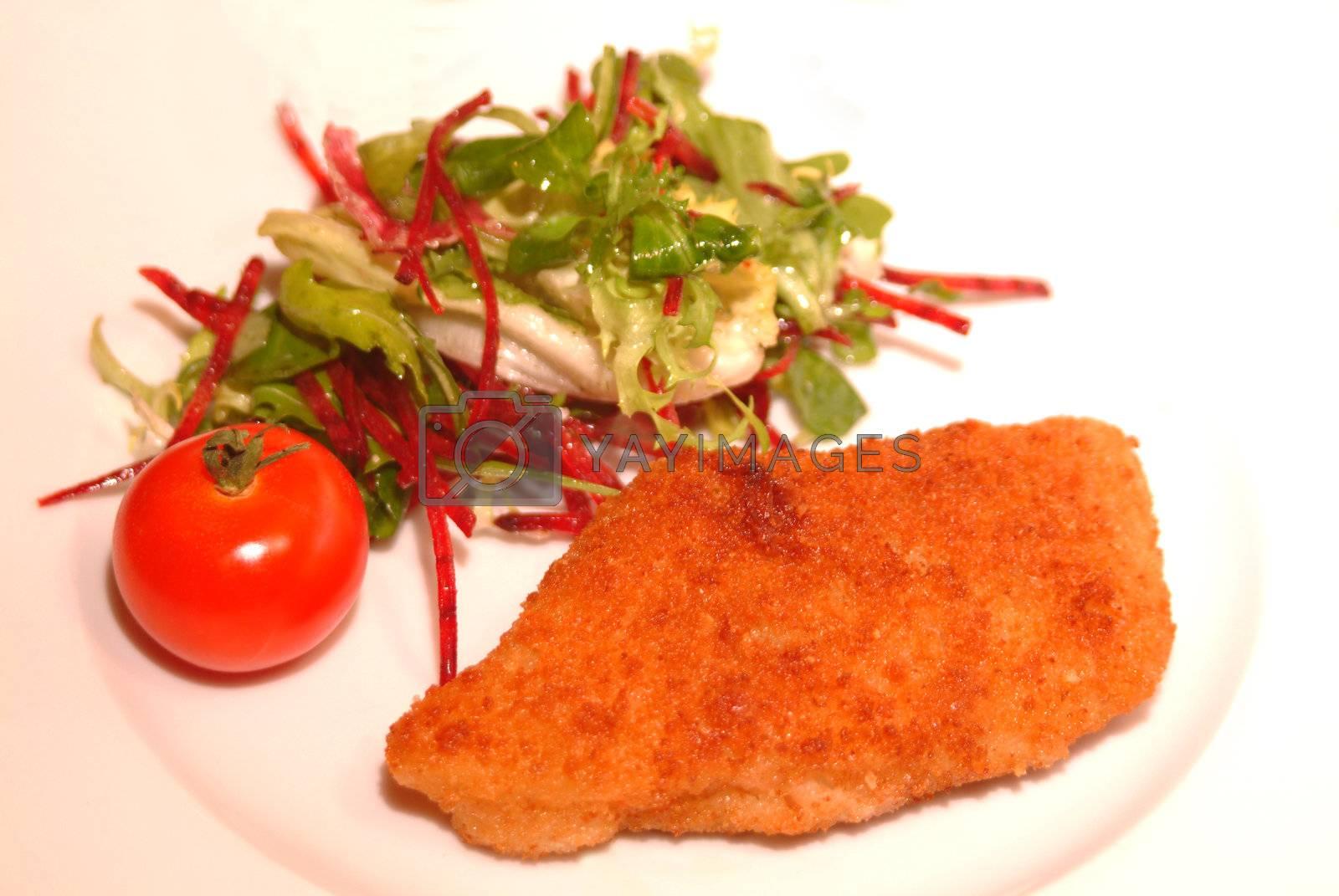 fish filet with fresh salad by Szakaly