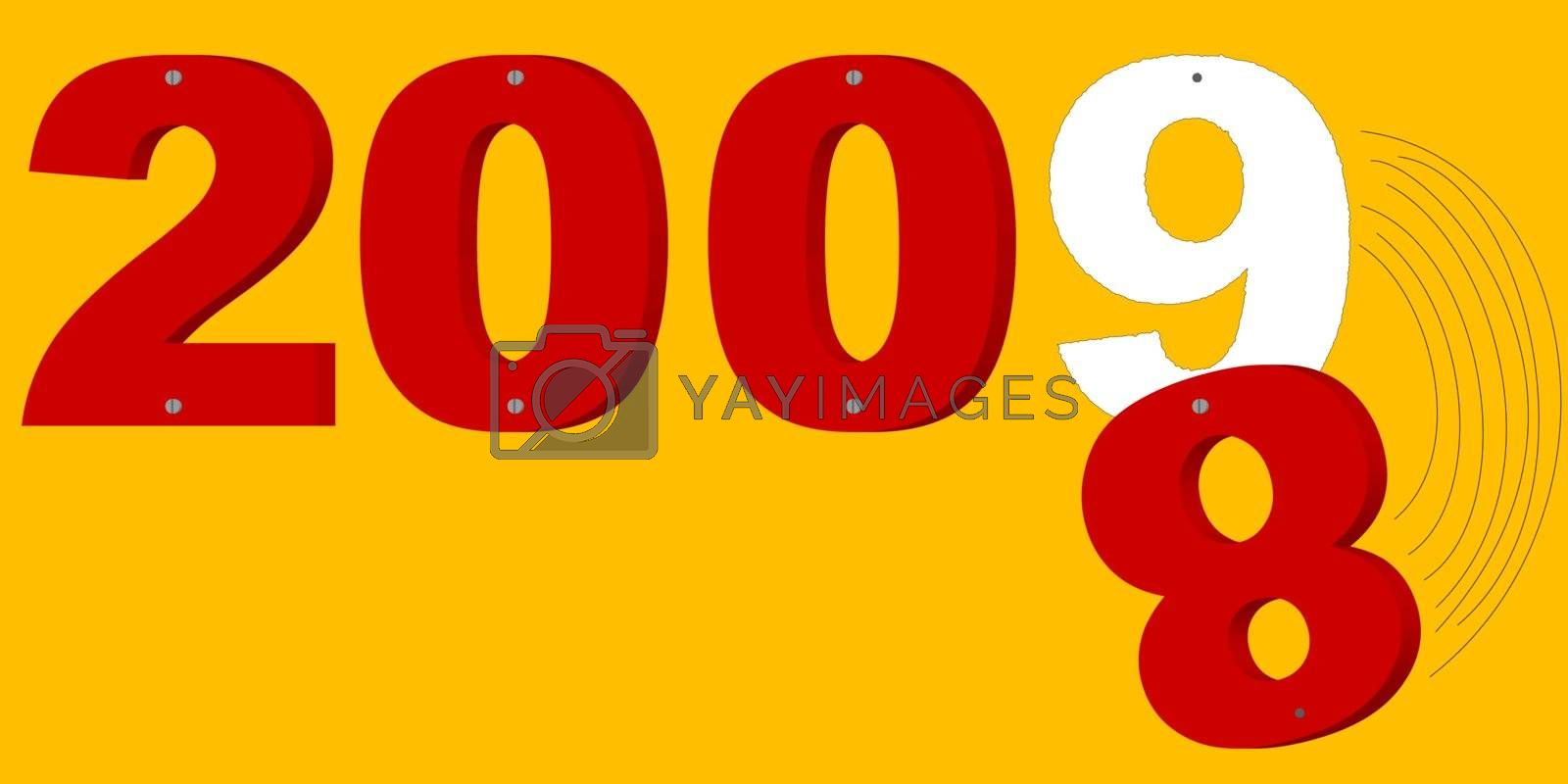 3d red inscription 2008 with 8 falling and 9  which appears on orange background