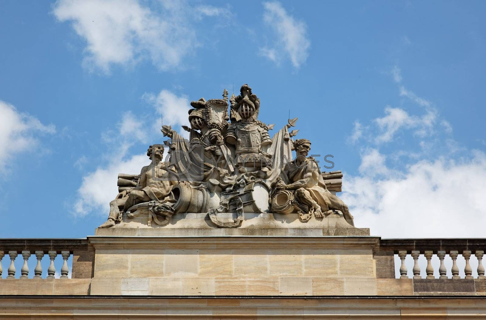 statue on historical building in Berlin Germany