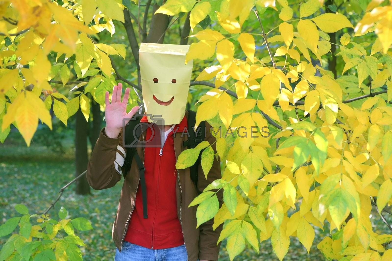 Royalty free image of Package-Head, Merry Funny Smiling Man by Astroid