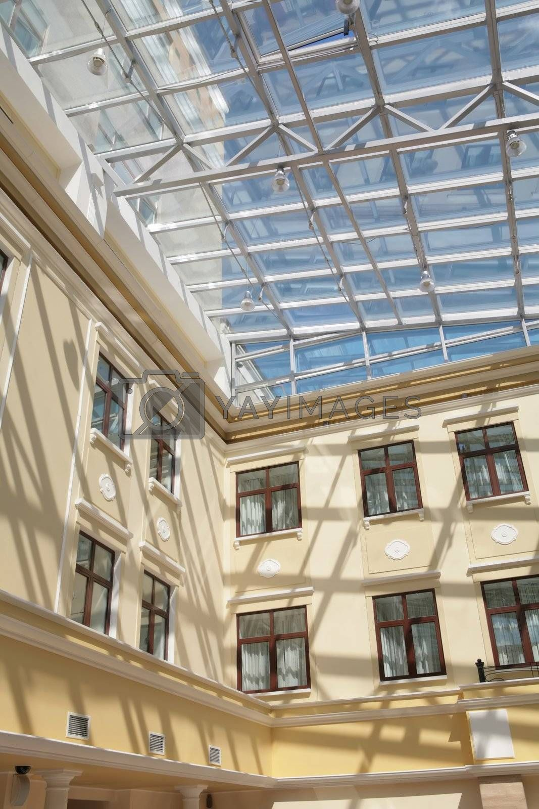 Royalty free image of interior with glass ceiling and windows by Astroid