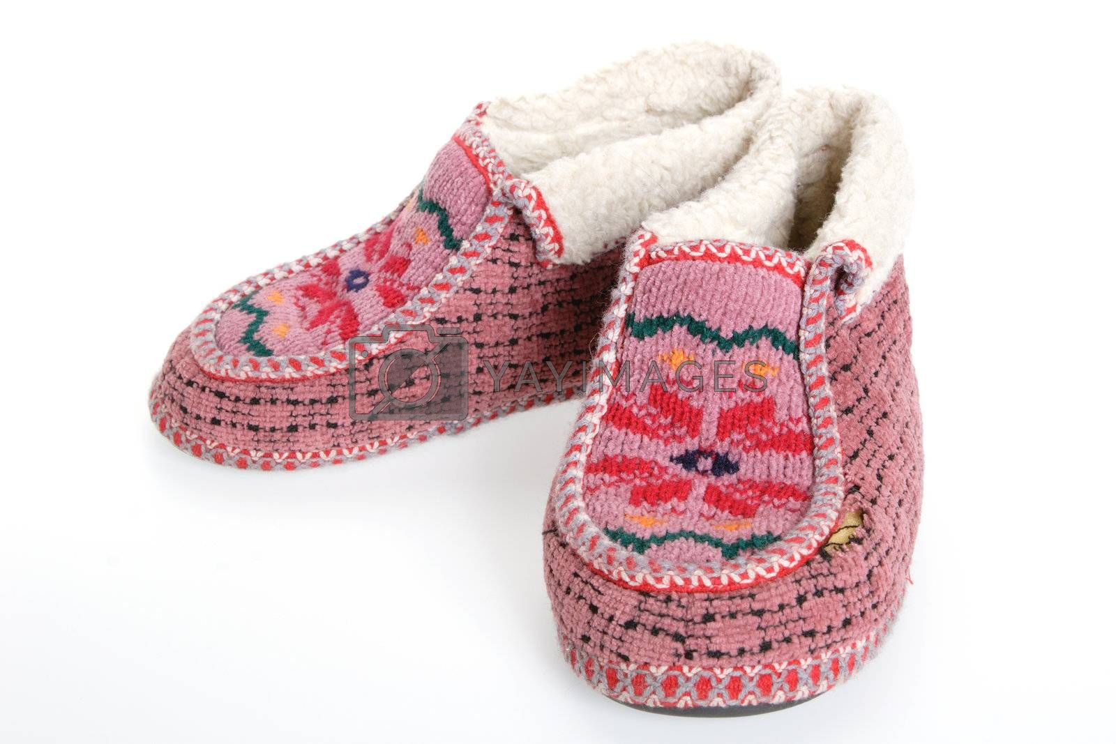 Royalty free image of Old Soft Fur Warm Slippers by Astroid