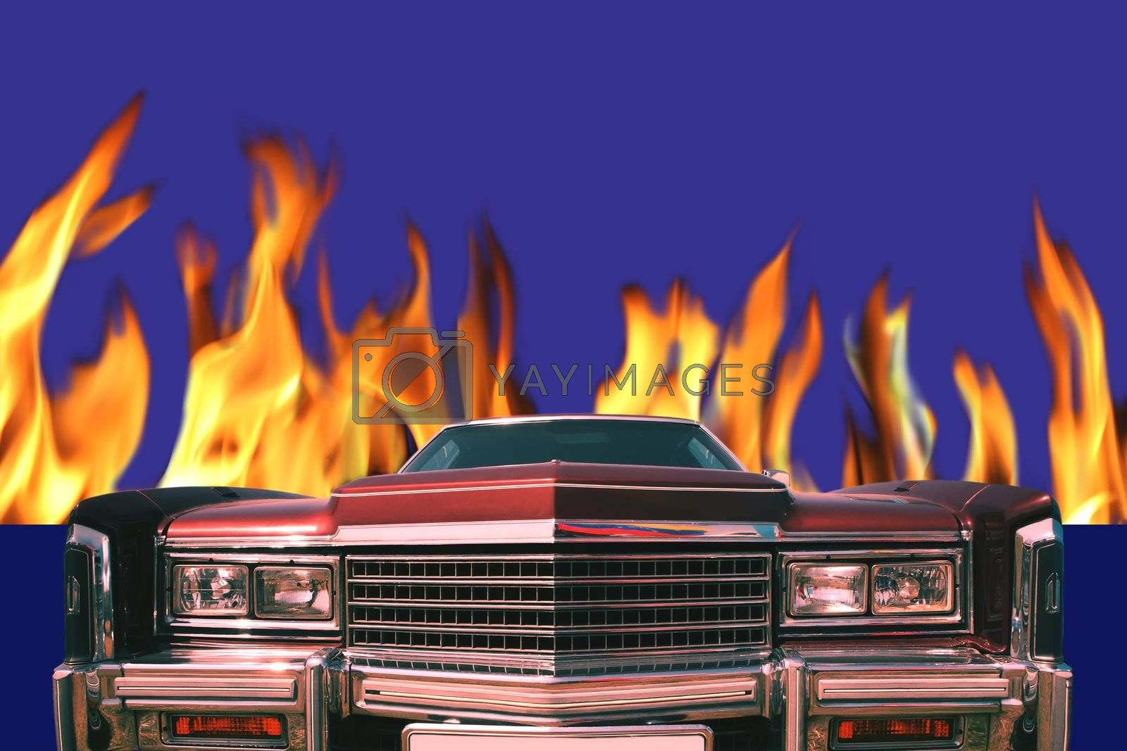 Red Car aflame by Astroid
