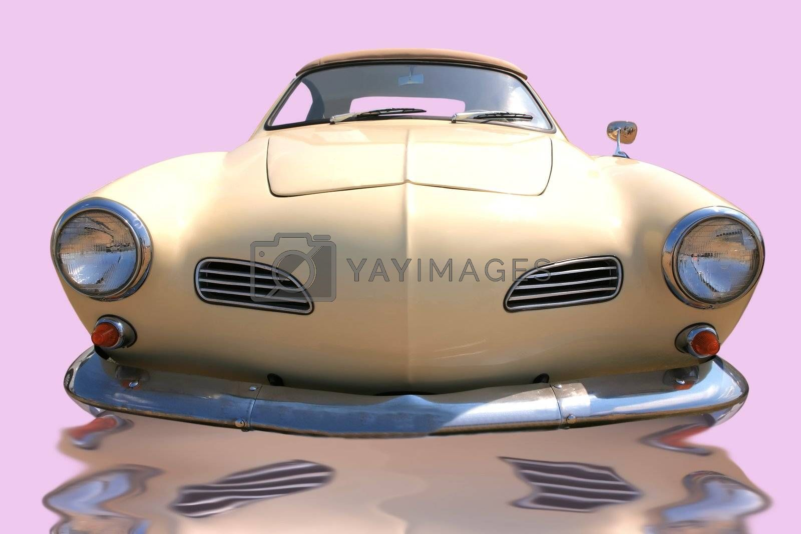 Royalty free image of beige european retro car by Astroid
