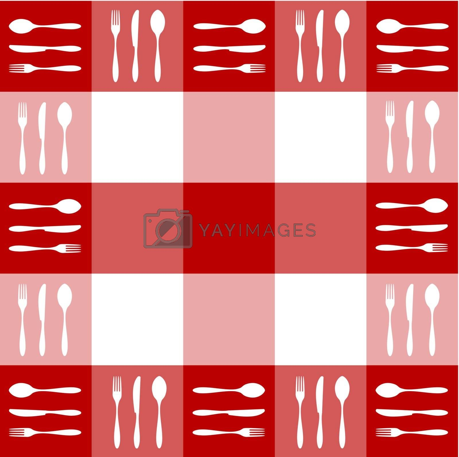 Food, restaurant, menu design with cutlery silhouettes pattern on red tablecloth texture. Vector available