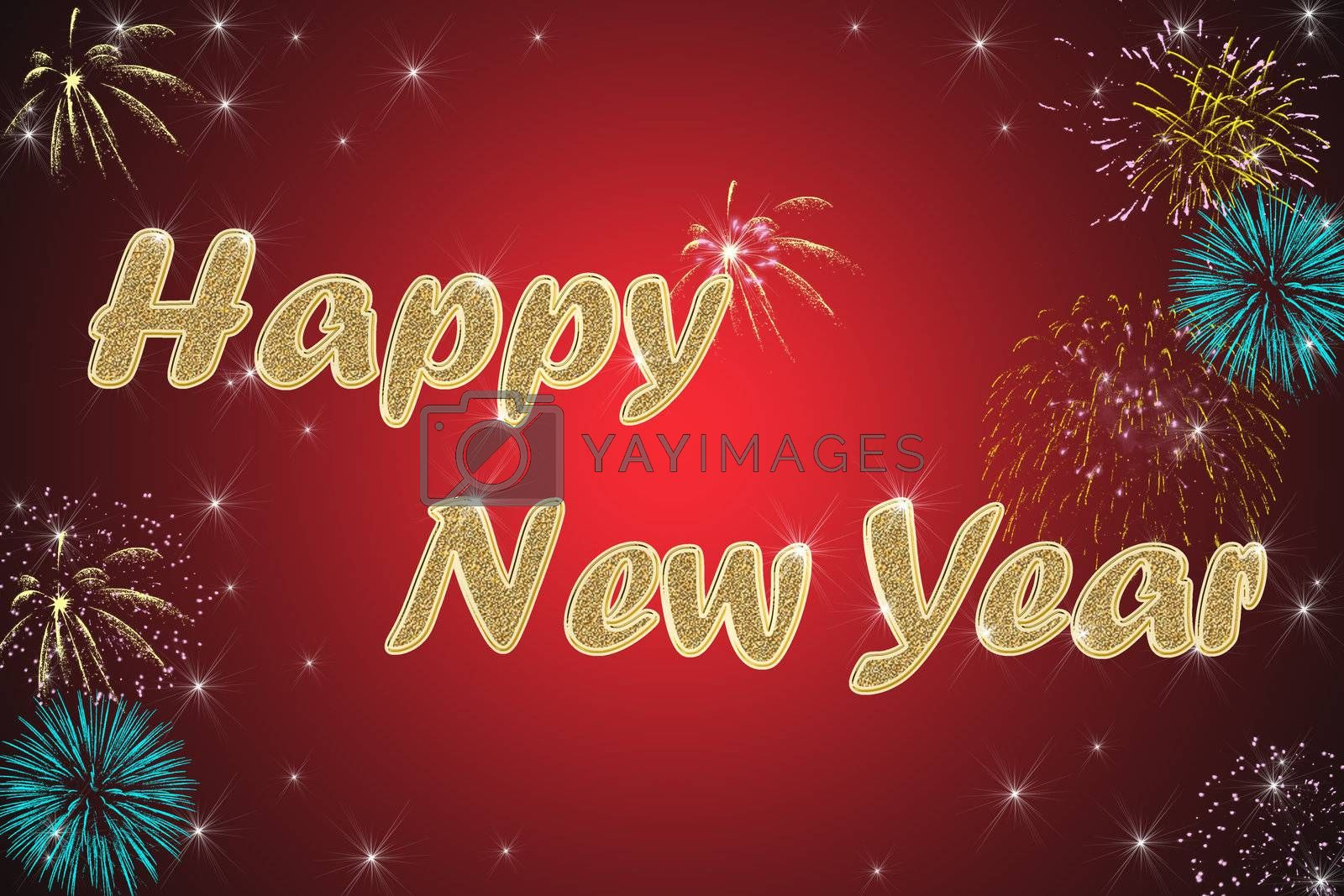 Royalty free image of happy new year red background by Dessie_bg