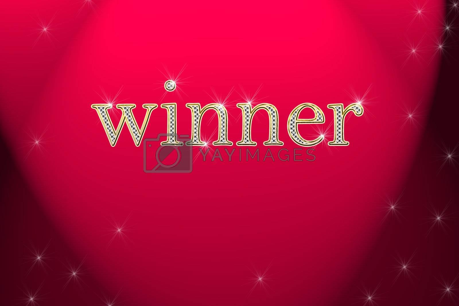 golden sign, written word winner on red background with satrs by Dessie_bg
