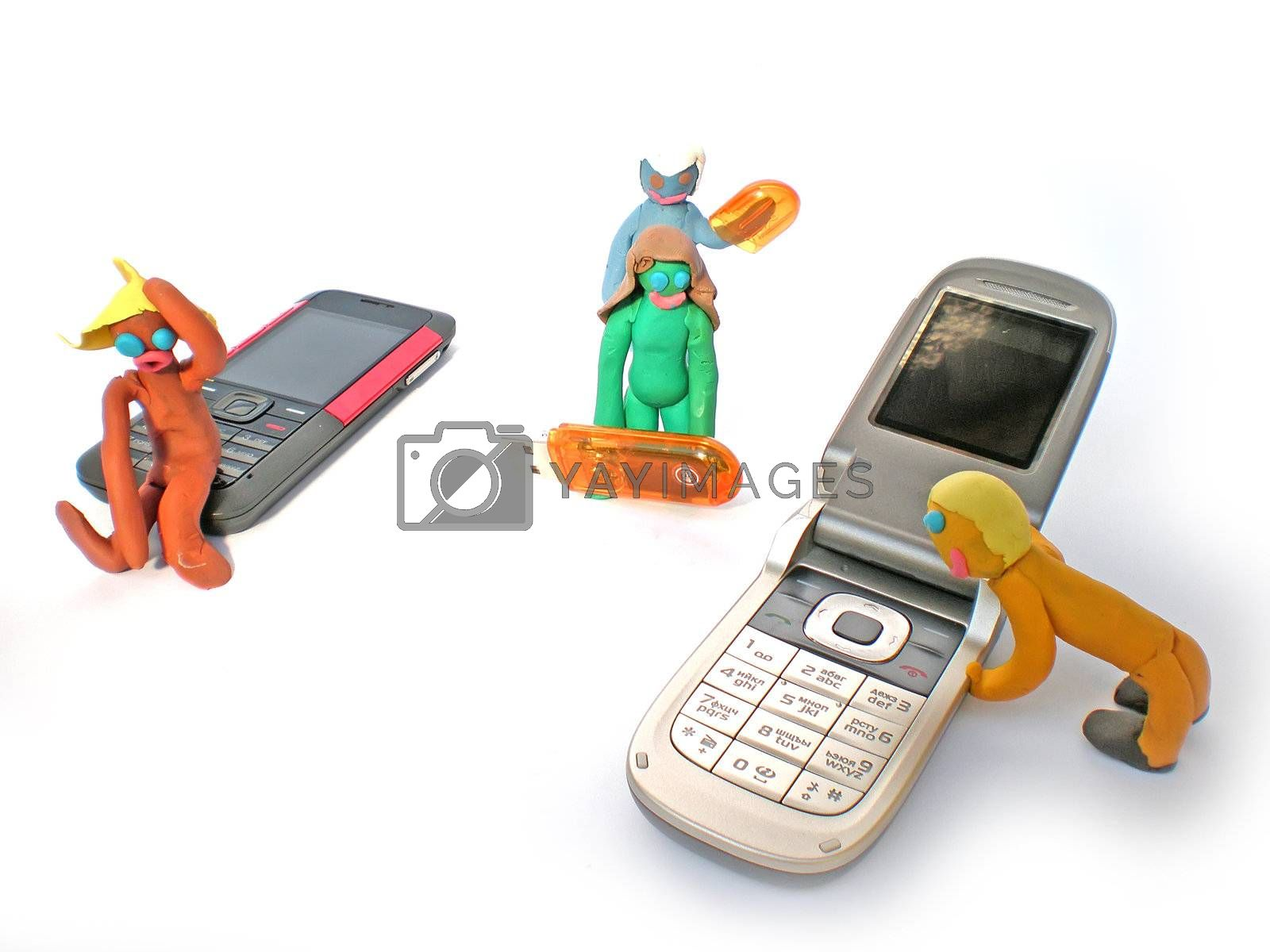 plasticine people figures with phones and usb flash on white background