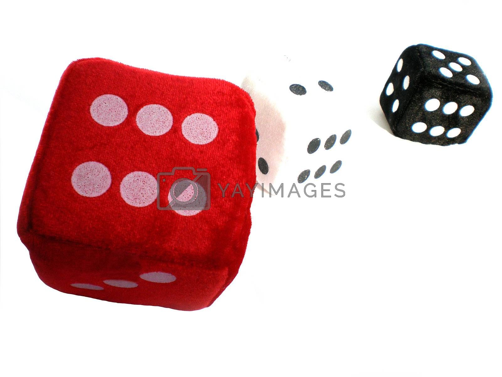 red, white and black dice isolated on white background