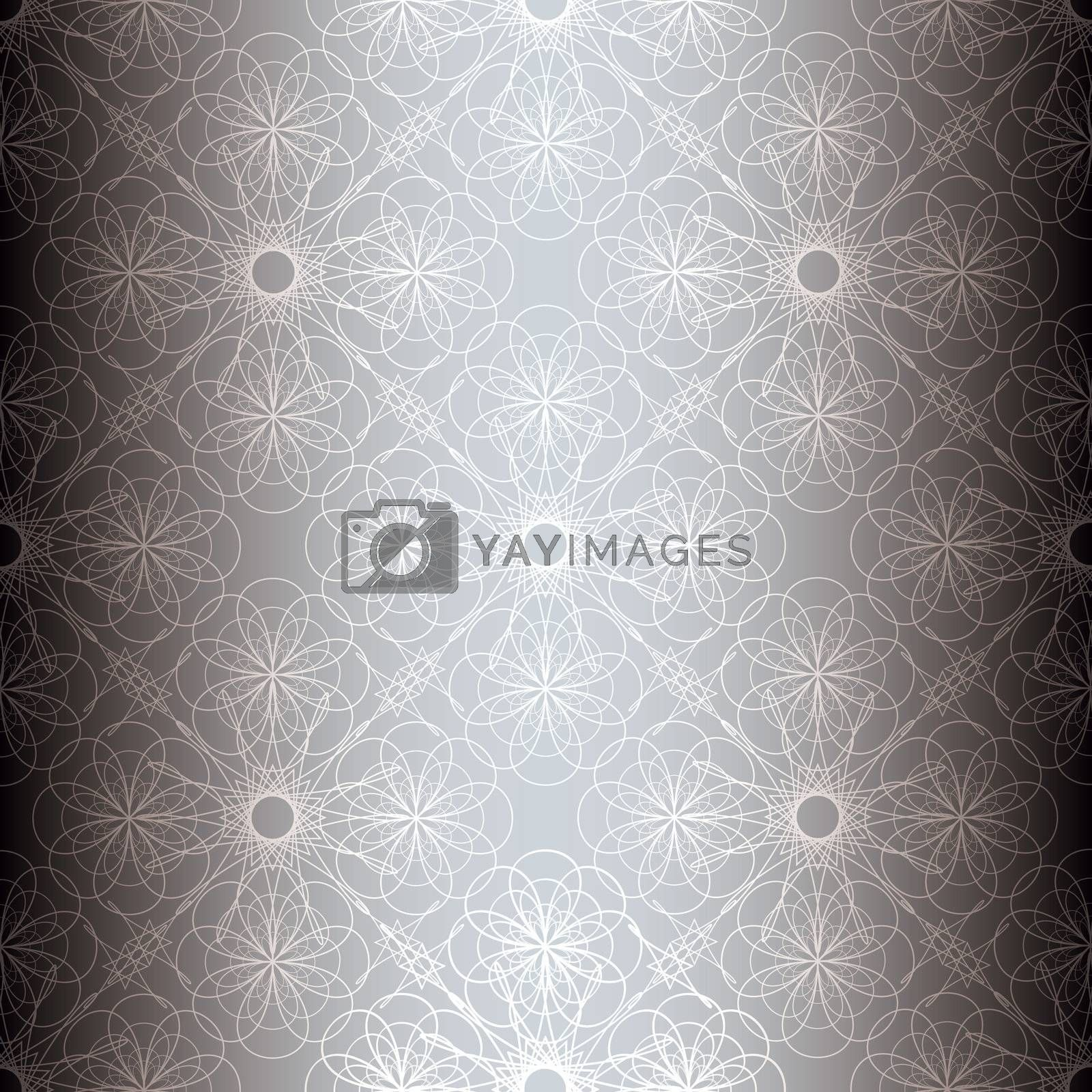Silver floral abstract seamless background with repeat tile pattern