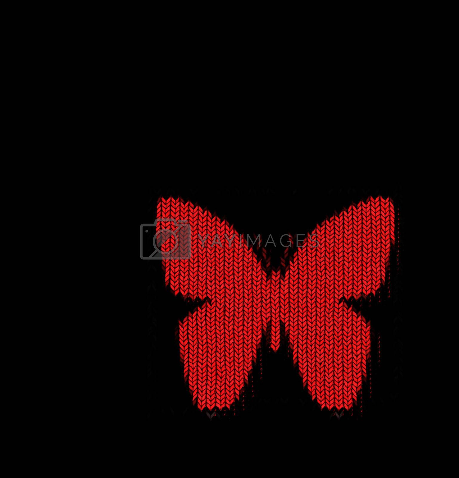 bright red butterfly shape in knitting pattern on black