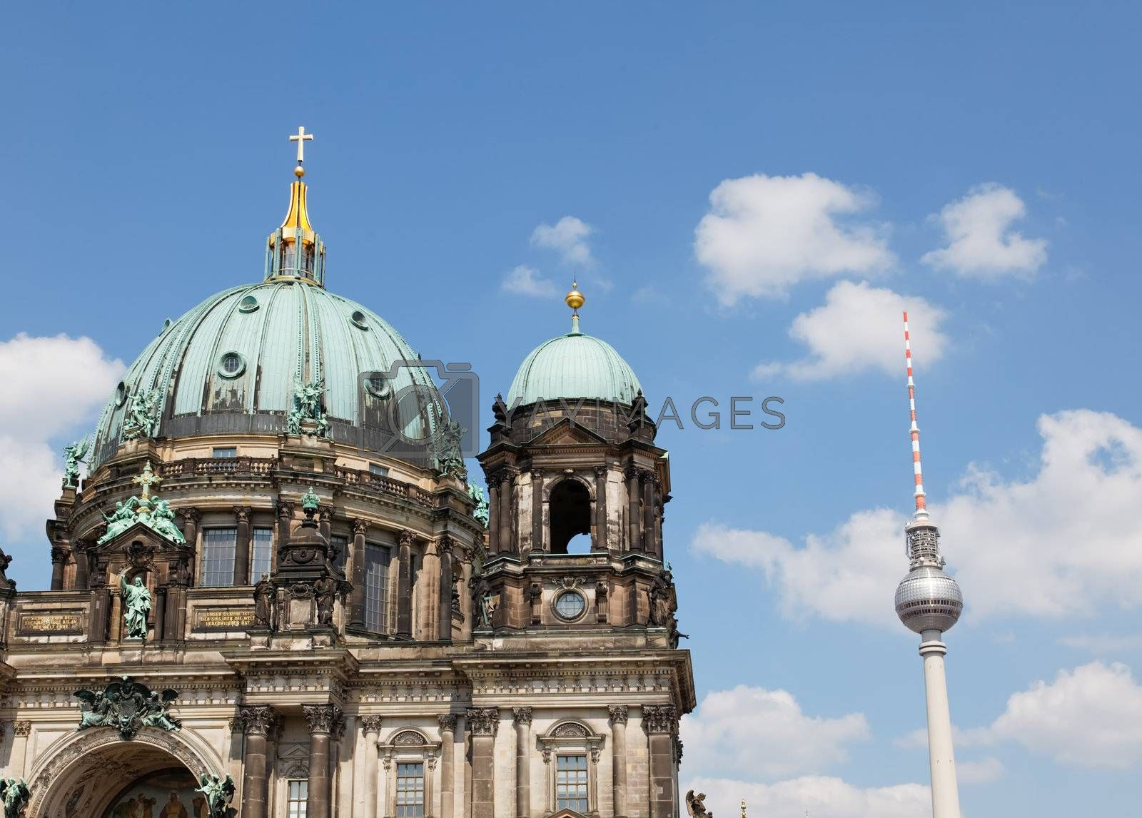 the Berliner Dom and TV tower in Berlin Germany