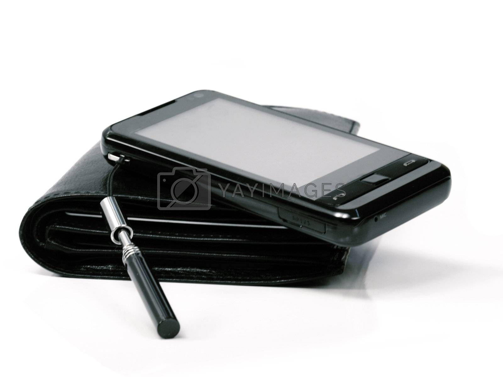 phone and black wallet