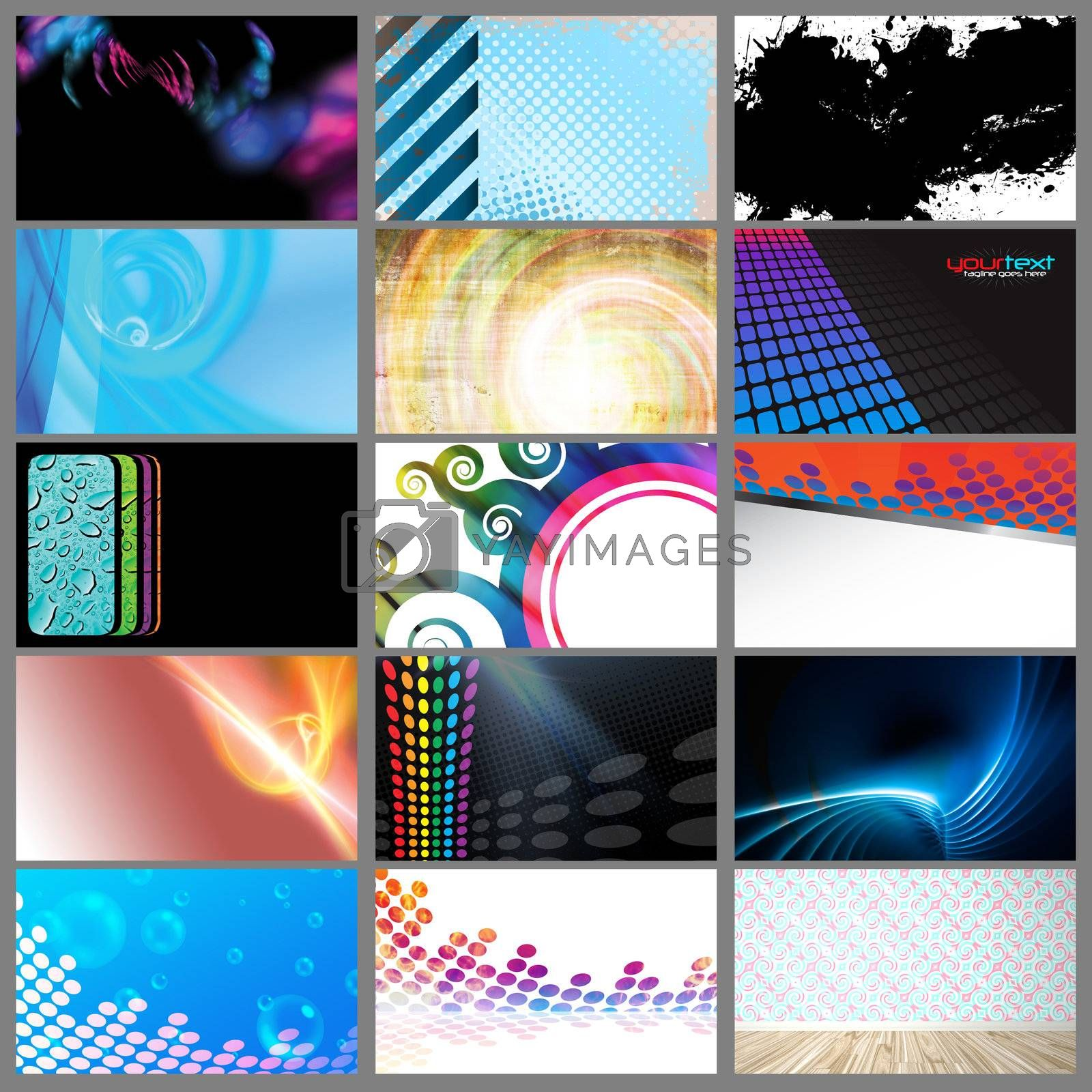 Assortment of 15 horizontal modern business card templates that are print ready and fully customizable. Easily add your text and logo. These include .25 inch bleed and trim to standard size.