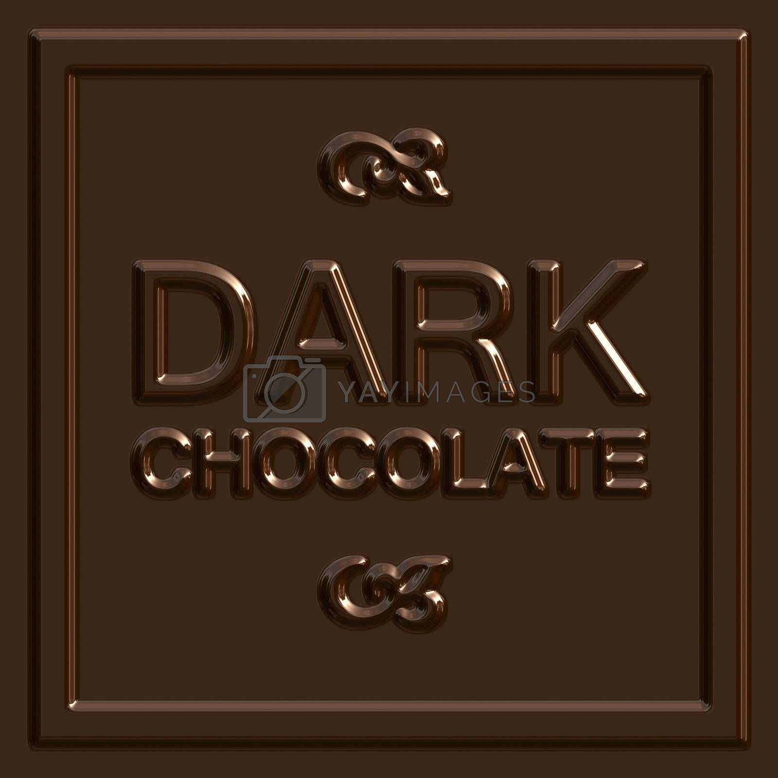 A dark chocolate square that tiles seamlessly as a pattern to make any background or isolated chocolate bar shape that you need.