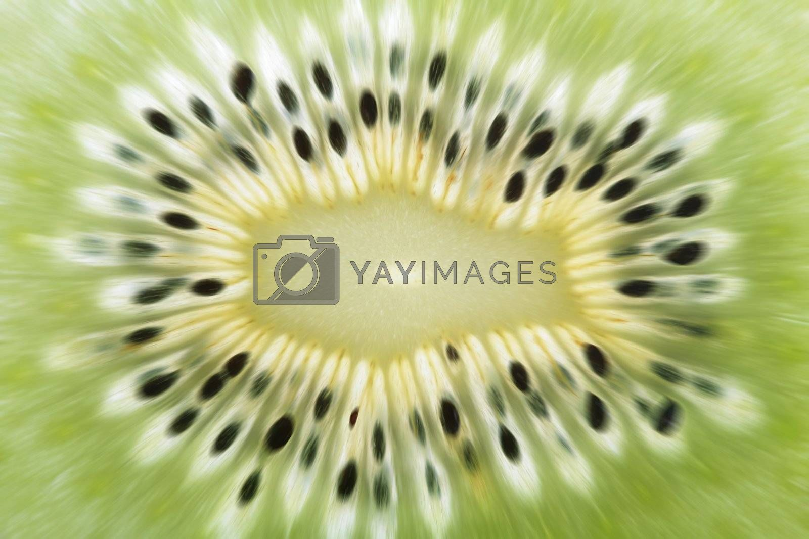 natural explosive abstract background, green cut kiwi