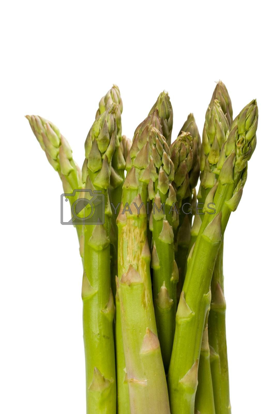 detail of fresh green asparagus isolated on white background