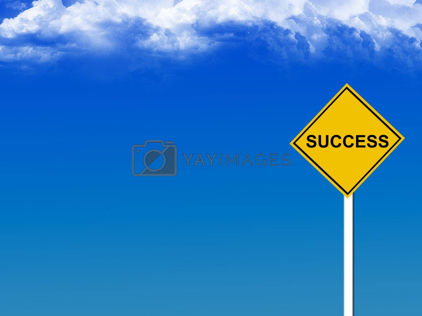 yellow succes sign whit blue sky background