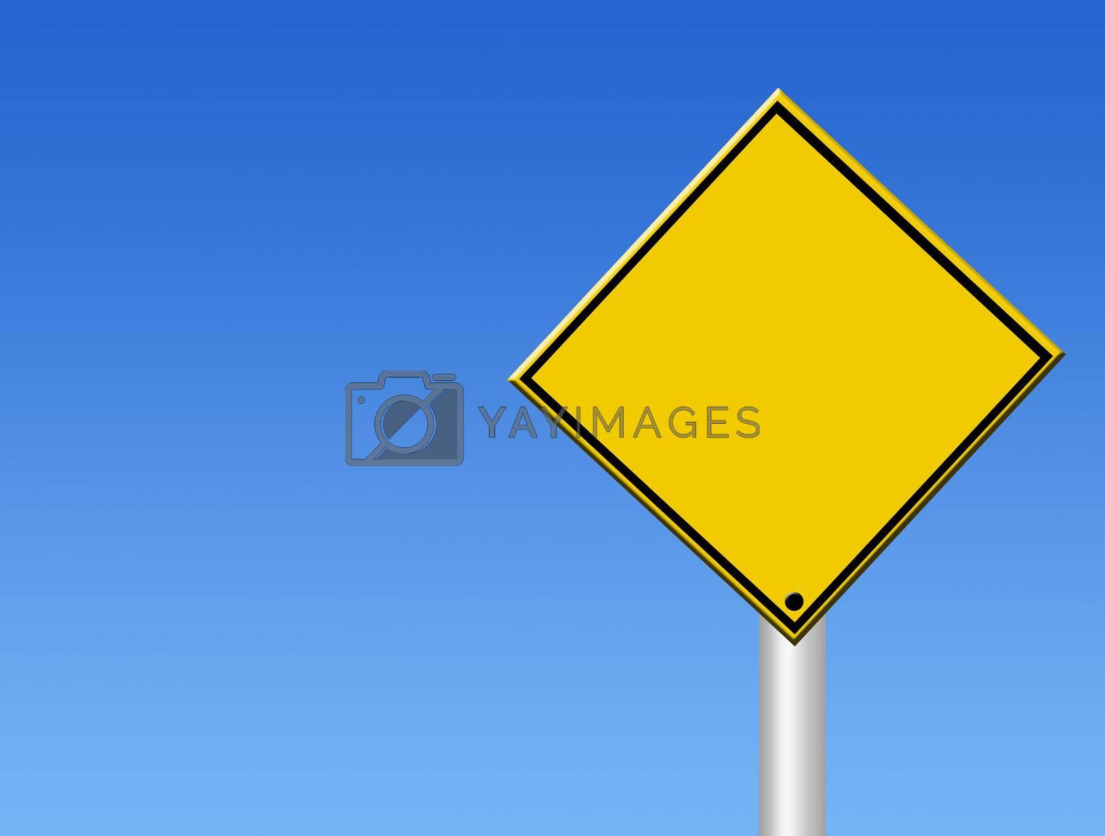 blank straffic sign on blue background. illustration